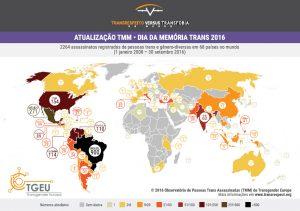 .نقشهی منتشر شده توسط TGEU که نشان میدهد در بازهی زمانی یک ژانویه ۲۰۰۸_تا سی سپتامبر ۲۰۱۶، ۲۲۶۴ ترنس در ۶۸ کشور دنیا جان خود را از دست دادهاند.