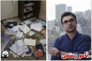 تصویری از منزل ئاسو رستمی بعد از تفتیش وسایل و بازداشت