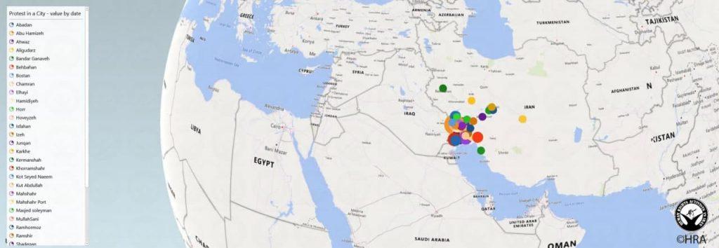 نقشه پراکندگی اعتراضات بر اساس شهرها و تاریخ وقوع